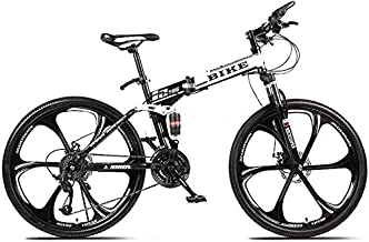 Mopoq Foldable MountainBike 24/26 Inches, MTB Bicycle with 6 Cutter Wheel, White