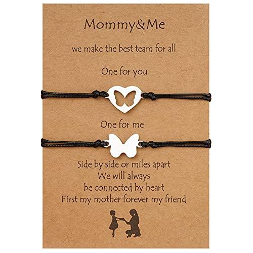 FENGGUO Juego de pulseras para madre e hija para 2 pulseras a juego con corazón y deseos, regalo para mamá e hija