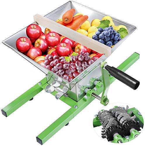 WENHAUS 7L Edelstahl Obstmühle Maischemühle Mit Trichter Handkurbel Und Stützholz, Fruchtmühle für Obst Apfel Birne Trauben (600001)