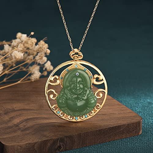 Collar Con Colgante De Buda Maitreya De Jade Verde De Jade D