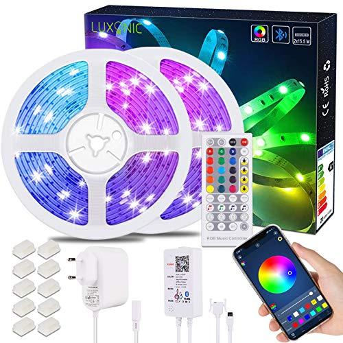 31M Ultralanges LED Lichtleisten Set RGB,LUXONIC APP-Steuerung RGB LED 24V,Bluetooth-Steuerbox,40Tasten IR Fernbedienung,Farbwechselndes Licht Stripes mit Musiksynchronisierung Hause Weihnachten Dekor