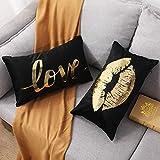 YNester - Fundas de almohada de franela, doradas, decorativas, con diseño de labios y amor, fundas...
