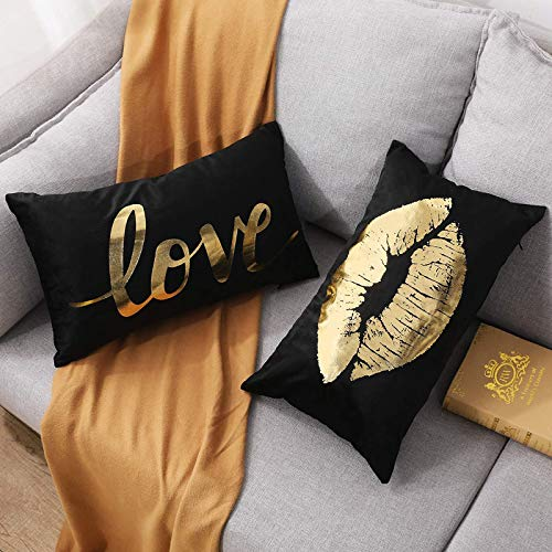 YNester 2PCS Flannel Gold Decorative Lumbar Pillow Covers Love Eyelash 12''x20'' Throw Pillow Covers Cushion Covers pillowcover Bronzing Cushion Cover for Room Bed Sofa Outdoor Decor (Black 30x50 cm)