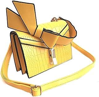 SODIAL Elegant Female Bow Handbag Pu Casual Wild Stone Chain Shoulder Bag Crocodile Crossbody Bag Yellow