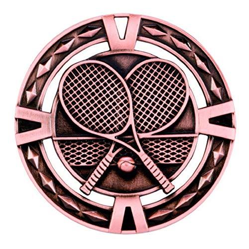 Emblems-Gifts V-Tech Tennis-Medaille, personalisierbar, Bronze, mit rotem, blauem und weißem Band