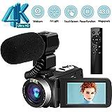 Videocámara 4K Video Cámara Ultra HD 48MP Vlogging Cámara con micrófono 2.4G Control Remoto inalámbrico Videocámara Pantalla táctil giratoria y función de cámara Web