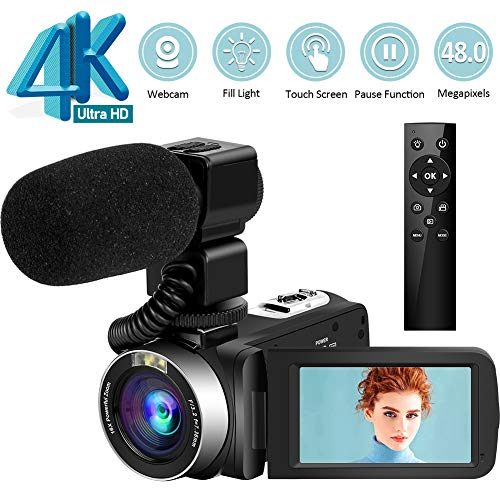 Videokamera 4K Camcorder Ultra HD 48MP Vlogging-Kamera mit Mikrofon 2.4G Wireless-Fernbedienung Camcorder Drehbarer Touchscreen und Webcam-Funktion
