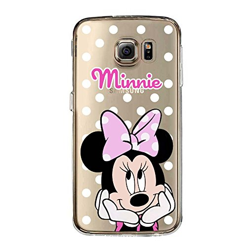 S6 TPU Funda Gel Transparente Carcasa Case Bumper de Impactos y Anti-Arañazos Espalda Cover, Cartoon, Dibujos Animados, Special Colección Collection, Minnie Mouse Lunar, Galaxy S6
