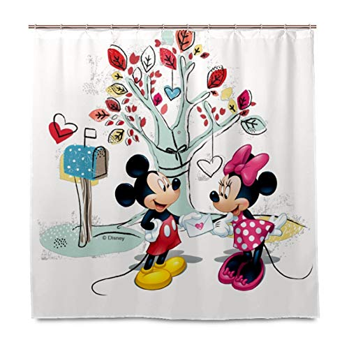 N\O Mickey Mouse Minnie Valentine's Day 60' x 72' Bathroom Shower Curtain with 12 Hooks Accessories Decorative Waterproof Fabric Shower Curtains Set for Kids Boys Girls Women Men