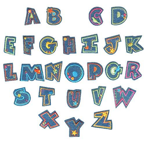 Aweisile Parches con Letras 26 piezas Parches Bordados de Letras Tela Parches...
