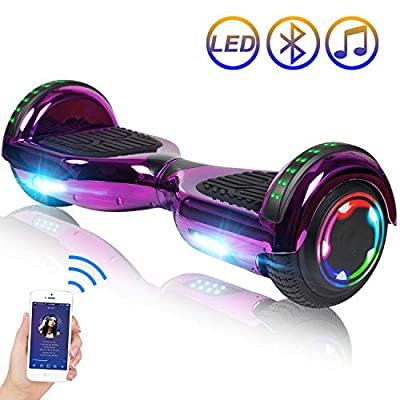"""Hoverboard Self Balancing Scooter 6.5"""" Two-Wheel Self Balancing Hoverboard with Bluetooth Speaker and LED Lights Electric Scooter for Adult Kids Gift UL 2272 Certified Plating Dazzle Series - Purple"""