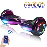 Hoverboard Self Balancing Scooter 6.5' Two-Wheel Self Balancing Hoverboard with Bluetooth Speaker and LED Lights Electric Scooter for Adult Kids Gift UL 2272 Certified Plating Dazzle Series - Purple