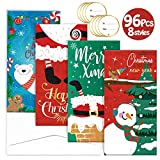 Christmas Gift Card Money Holders 8 Designs 32 Holographic Greeting Cards 32 Envelopes 32 Stickers for Holiday Festival Party Favors