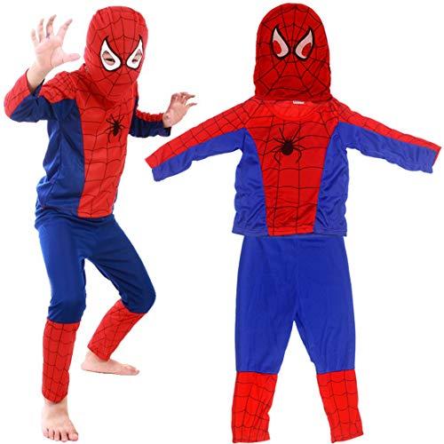 Superhero Spiderman Classic Mario Fancy Dress Costume Spiderman Cappello + Pantaloni + Cappotto- Costume per Bambino - Perfetto per Carnevale e Cosplay(Large 100-150cm)