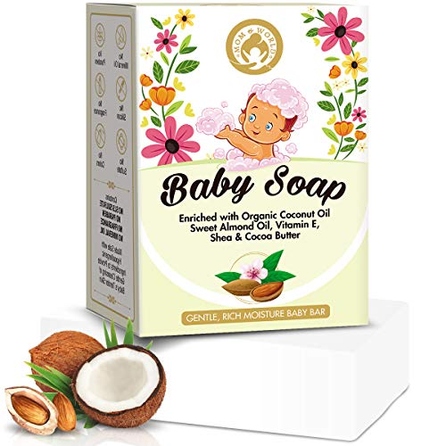 StBotanica Mom & World Natural Baby Soap Enriched With Organic Coconut Oil, Sweet Almond Oil, Vitamin E, Shea & Cocoa Butter, 125g - No SLS, Paraben, Mineral Oil (MOMWLD22)