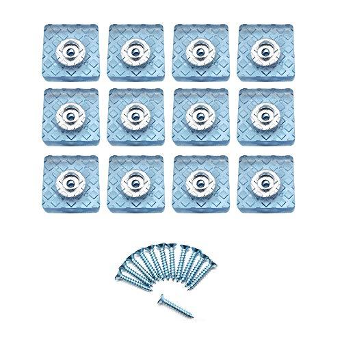 Her Kindness 12 Piezas Protector Patas Sillas Cuadradas,Almohadilla de Gomay conTornillo-Set Protector de Patas Para Sillas,Mesas,Suelo,Dia 30mm,Azul Cristal