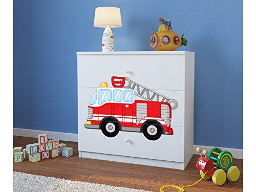 CARELLIA Commode Enfant Pompier 3 TIROIRS – Blanc