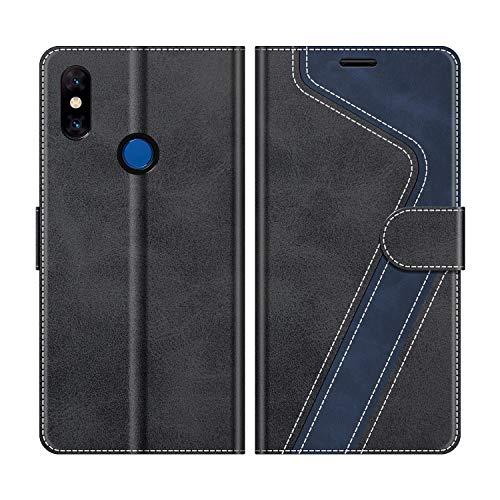 MOBESV Handyhülle für Xiaomi Mi Mix 3 Hülle Leder, Xiaomi Mi Mix 3 Klapphülle Handytasche Case für Xiaomi Mi Mix 3 Handy Hüllen, Modisch Schwarz