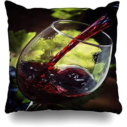 qinzuisp Kussensloop Smaak Alcohol Rode Wijn Gieten In Glas Vintage Shiraz Food Drink Bar Drinkfles Cabernet Thuis Kussensloop Vierkante grootte es Rits Decor Kussensloop 45X45CM
