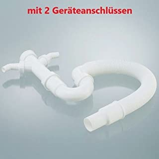 Keenberg - Sifón para fregadero de cocina con salida flexible, ángulo de 90° y dos conexiones para dispositivos (2 GA) - 1,5 pulgadas x 40/50 mm