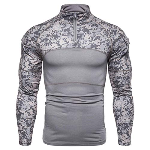 Military Style Men's Combat Long Sleeve Camo T-Shirt with Pockets Tactical Military T-Shirt with 1/4 Zipper Breathable Cool Shirt Airsoft Hunting Woodland Slim Fit Camo Shirt XL