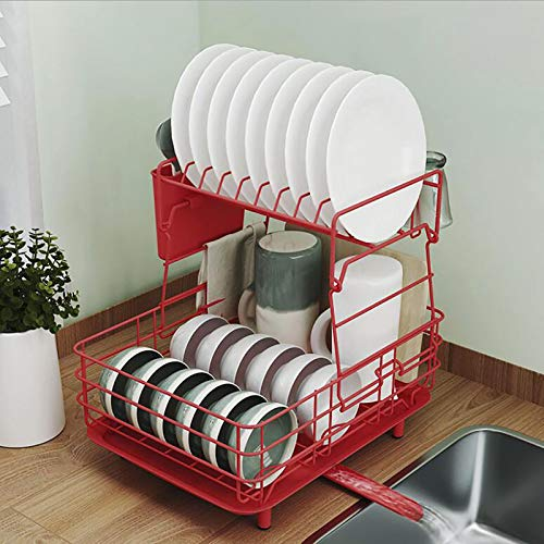 KWOPA Dish Drying Rack For Kitchen Counter,2-tier Stainless Steel Dish Drainer,Drainboard Set With Utensil Holder And Adjustable Swivel Spout-Red 39.4x30x37.3cm(16x12x15inch)