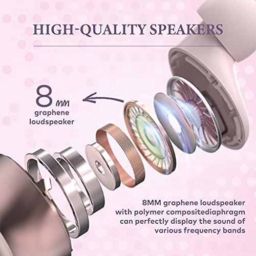 Auriculares Inalambricos, In-Ear Auriculares Bluetooth 5.1, Calidad de Sonido sin Pérdidas, 50 Horas Tiempo de Reprodución, Reducción de Ruido de Llamada, IPX7 Impermeable,Deslizar Abierto(Rosa)