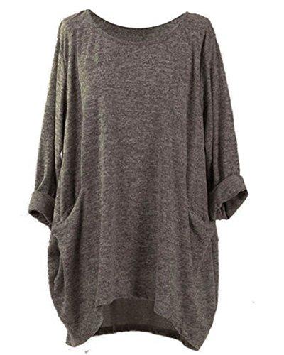 VONDA Oberteile Damen Langarmshirt Casual Lose Rundhals Shirt Bluse Oversize Tops Mit Taschen A-Kaffee L