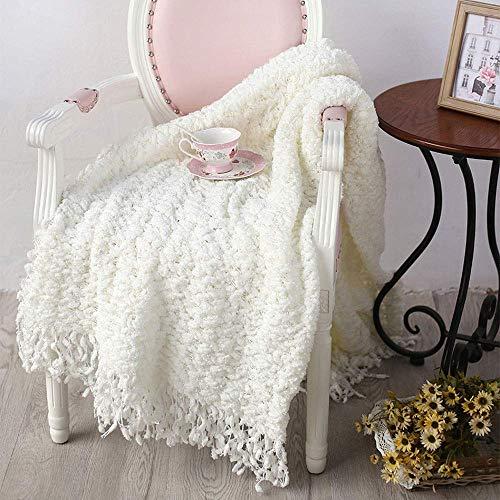 ZXL Sneeuwvlok gebreide deken en sprei/luier sofa deken/zwevende venster cover, geschikt voor bruiloften | Leren | Slaapkamer | Slaapbank | Camping | Kerstmis (kleur: wit)