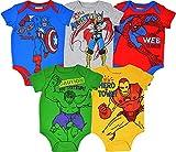 Marvel Avengers Baby Boys 5 Pack Bodysuits...