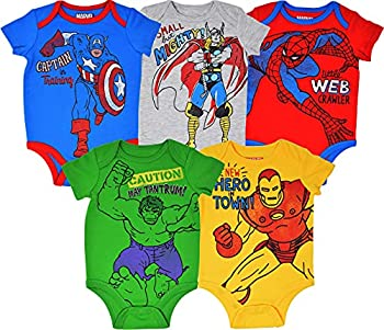 Marvel Avengers Baby Boys 5 Pack Bodysuits Hulk Spiderman Iron Man Thor & Captain America 18 Months