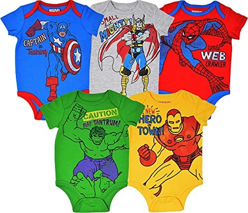 Marvel Avengers Baby Boys 5 Pack Bodysuits Hulk Spiderman Iron Man...