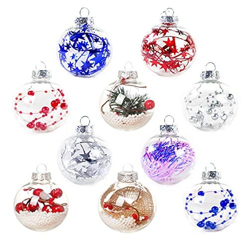 SWETIY Adornos De Plástico Rellenables, Bolas De Manualidades para Árbol De Navidad,Bolas...
