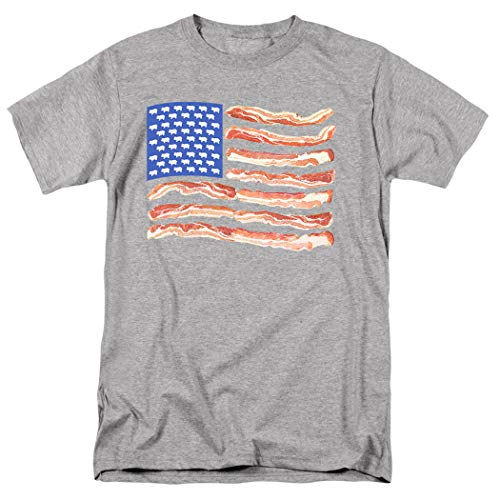 Popfunk Bacon USA Flag T Shirt & Stickers (X-Large) Athletic Heather