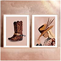 ヴィンテージ自由奔放に生きるカウガール写真ポスターブーツプリント美しい女の子デジタルプリント西洋の壁アート装飾壁の写真部屋用-50x70cmx2フレームなし