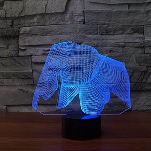 LZGPZXYD Elephant 3D Visual LED Night Lights Slaapkamer USB Book Case Tafellamp Home Decor USB Baby Slaap Lighting Rekken voor kinderen Touch