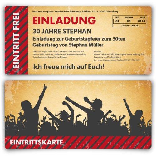 Einladungskarten zum Geburtstag (50 Stück) als Eintrittskarte im Vintage-Look Ticket Karte Einladung