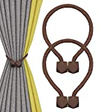 Nimon Magneticas Cuerda Hebillas Cortinas, Alzapaños Cortinas Imán para Clips Decorativos de Familia Oficina de Cuerda (Marrón)
