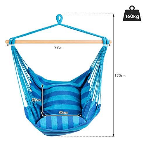 RELAX4LIFE Hängesessel, Hängesitz mit 2 abnehmbaren Kissen, Hängestuhl mit dickem Seil, Hängeschaukel für Kinder & Erwachsene, für Balkon & Wohnzimmer, bis zu 160 kg belastbar, waschbar (Hellblau) - 6