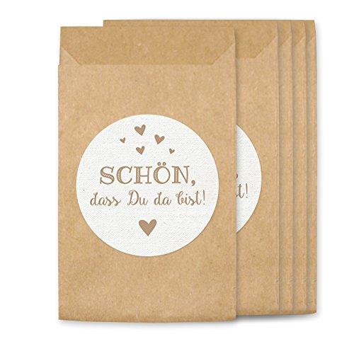 KuschelICH Freudentränen Hüllen & Aufkleber - Tüten für Vintage Hochzeit Taschentücher - umweltfreundlich (50 STK, Schön)