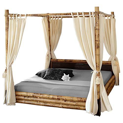 Vakarua Misool Himmelbett 180 x 200 mit Vorhang Bambusbett Doppelbett Holzbett Bett aus Bambus Holz