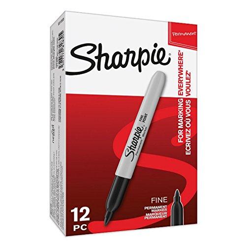 Sharpie S0810930 - Rotuladores permanentes, punta fina, caja de 12, color negro
