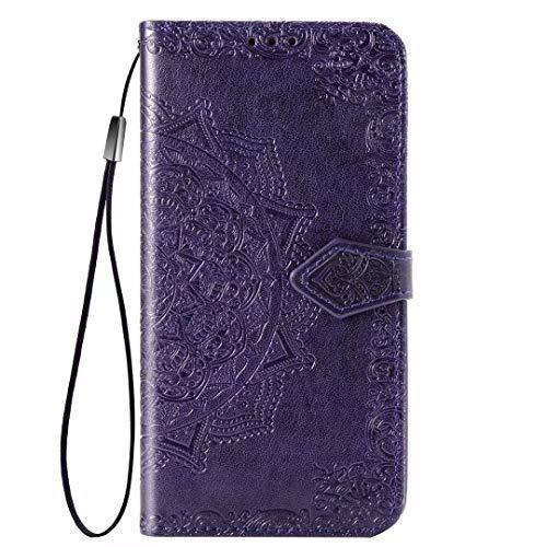 YIKLA Funda para Xiaomi Mi 10S, Mandala Folio PU/TPU Cuero Wallet Case, Diseño con Ranuras para Tarjetas, Cierre Magnético, Premium Flip Wallet Cover - Púrpura