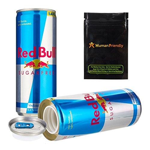 Red Bull azúcar libre Diversion Segura Secret Stash Can 8oz W humanfriendly prueba de olores bolsa