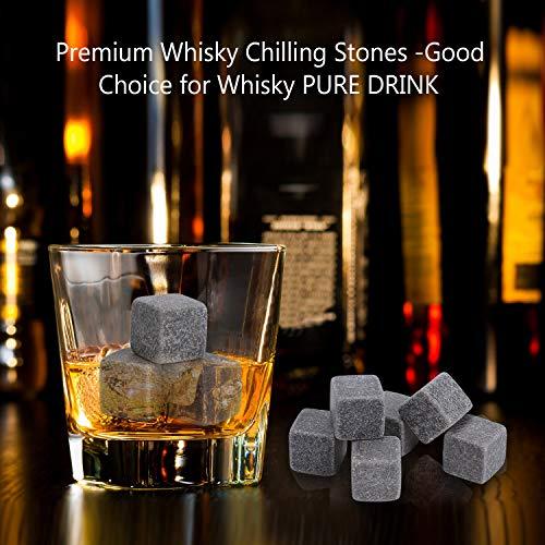 PEMOTech Whisky Steine, 9 Paare Granit-Drink-Rocks, 1 Edelstahlclip und 2 Untersetzer, verpackt in Einer exklusiven hölzernen Geschenk-Tasche und Samt-Tasche, Männer im Winter - 2
