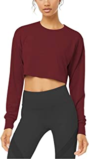 Women's Crop Tops Long Sleeve Workout Shirts Cute Athletic Yoga Shirts with Thumb Holes
