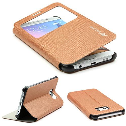 Urcover Custodia Wallet per Samsung Galaxy S6 Edge Plus   Flip Cover con Finestra S-View   Wallet Case Rigida con Supporto Stand   Portafoglio Libro in Marrone