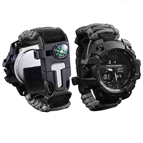 wejie Survival Bracelet Watch, Men and Women Digital Outdoor Sports Watch, 6-IN-1 Waterproof Emergency Survival Watches with Paracord, Whistle, Fire Starter, Scraper, Compass and Survival Gear (Black)