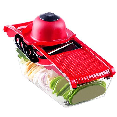 Cortadora de mandolina, picadora de verduras multifunción 5 en 1, con cuchillo de cocina y recipiente de almacenamiento, disponible en cocinas y restaurantes