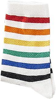 ECMQS – Calcetines, para mujer y adolescentes, Harajuku Rainbow Striped Crew Style Preppy Hip Hop, tabla con ruedas, algodón b